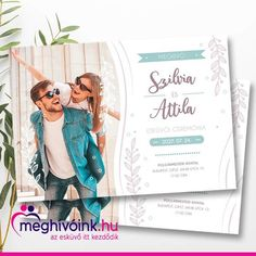 Wedding invitation size A5 (210 × 148 mm), landscape format, printed on 1 page, with a correct size (230 × 160 mm) envelope. An above-average customizable model, which means that not only the font and wording can be changed (as well as the length), but also the photo you use can be changed to your own. it can also be a picture taken at a previous holiday or a prominent event that evokes beautiful memories on you and also puts a smile on the faces of your guests. Wedding Invitation Size, Wedding Invitations, A5, Budapest, Wedding Cards, Envelope, Faces, Smile