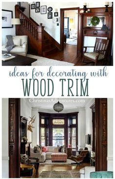 Don't paint your old wood trim - decorating with wood trim can be a challenge - but these ideas and pictures will leave you feeling inspired to leave the original wood trim and make a beautiful space showcasing that wood molding. Trim Paint Color, Room Paint Colors, Paint Colors For Living Room, Stained Wood Trim, Dark Wood Trim, Dark Interiors, Wood Interiors, Old House Decorating, Decorating Ideas