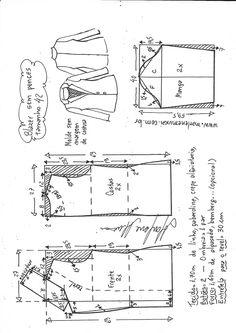 Blazer peplum – DIY – molde, corte e costura – Marlene Mukai - Moldes Moda T Shirt Sewing Pattern, Blazer Pattern, Dress Sewing Patterns, Jacket Pattern, Clothing Patterns, Sewing Pants, Sewing Clothes, Sewing Collars, Peplum