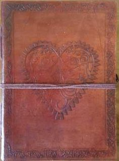 5 X 7 Heart Leather Blank Book W-cord