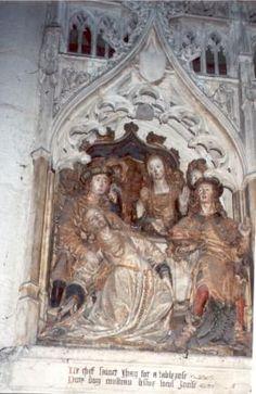 Johannes de Doper.. 1531. Steensculptuur kooromgang. Frankrijk, Armiens, kathedraal Notre Dame. Salome valt flauw bij het zien van Johannes' hoofd.