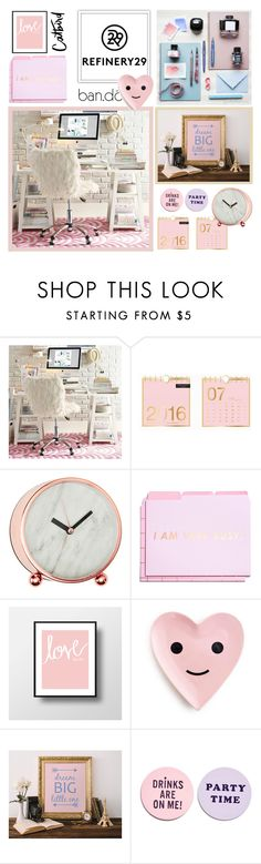 """Refinery29"" by imajaa ❤ liked on Polyvore featuring interior, interiors, interior design, home, home decor, interior decorating, PBteen, ban.do, Refinery29 and bando"