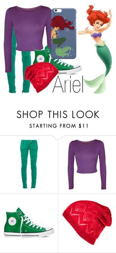 """Ariel~ DisneyBound"" by basic-disney ❤ liked on Polyvore featuring Balmain, WearAll, Converse and Disney"