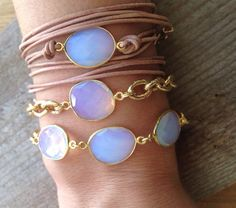 Opalite Triple Stone Bracelet with Gold Chain  BG05 by joydravecky, $84.00