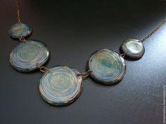 """Купить Колье """"Водовороты"""" - тёмно-синий, полимерная глина, украшение, украшение на шею, Бижутерия, подарок"""