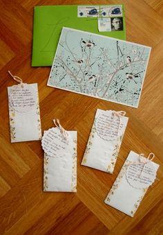 KLEINER VAMPIR: Juhuu, meine Wichtelpost ist da! Danke an Sarah für gleich viel geheimnisvolle Samenpäckchen - und die liebevolle Gestaltung nebst Karte :-)