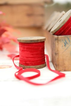 Vintage French Red Velvet Ribbon and Spool-I collect these