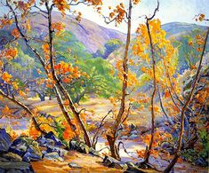 Anna Althea Hills (American painter) 1882 - 1930 Autumn, Fallbrook, s. x 36 in.) signed 'Anna A. Hills -' (lower right) and titled and signed (on the stretcher bar) Landscape Drawings, Landscape Wallpaper, Landscape Paintings, Landscapes, Acrylic Paintings, Watercolor Landscape, Landscape Art, A4 Poster, Poster Prints