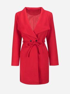 Lapel Plain Drawstring Woolen Coat Only $26.95 USD More info...