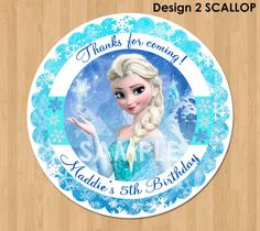 Frozen Favor Tag or Label - Disney Elsa Frozen Birthday Party Favor - Printable Treat Bag Label Thank You Favor Sticker Circle - 2.5 inch on Etsy, $4.99