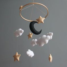 Baby mobile Monochrome nursery Black and white baby mobile Moon and stars Gender neutral nursery mobile Baby mobile boy Baby mobile girl Gold Nursery, Star Nursery, Nursery Neutral, Cool Baby, Post Office, Black Nursery Furniture, Homemade Mobile, Homemade Baby, Baby Corner