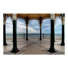"A Stand for a Band :- A shot of the English Channel as seen from the old Victorian Bandstand on Brighton seafront, England. Recently restored the ""Birdcage"" is regarded as one of the finest examples of a Victorian bandstand still surviving in England. #victorian #bandstand #architecture #seafront #coastal #brighton #england #iron #metal #ornate #grand"