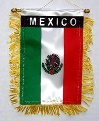 """Mexico - Window Hanging Flag by Flagline. $0.01. 4"""" x 6"""" Fringed Window Hanging Flag. We are pleased to provide a selection of window-hanging flags, perfect for display in your vehicle. These are approx. 4.5"""" x 4"""" flags with fringed edges and a gold rope which attaches to the supplied suction hanger, or mounts directly over your rear-view mirror.. Save 100%!"""