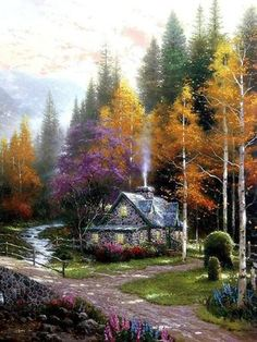 Thomas Kinkade art for sale - The Valley of Peace (Beginning of a Perfect Day II) by Thomas Kinkade LARGE Artist Proof A/P Limited Edition Framed Canvas Beautiful Paintings, Beautiful Landscapes, Landscape Art, Landscape Paintings, Landscape Photos, Oil Paintings, Thomas Kinkade Art, Thomas Kinkade Puzzles, Kinkade Paintings