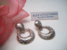 Sterling Silver Filigree Hoop Earrings Marked by ALEXLITTLETHINGS, $12.99