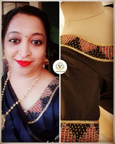 Happy client in our happy work. Thanks Mrs Leena for keeping us happy. Stone Work Blouse, Bridal Blouse Designs, Marriage, Saree, Couture, Embroidery, Sewing, Blouses, Models