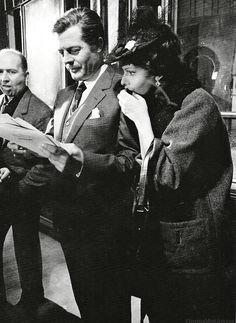 "cinemamonamour: ""Marcello Mastroianni and Sophia Loren on the set of ""Yesterday, Today and Tomorrow"", Cinecittà, 1963."""