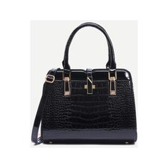 SheIn(sheinside) Black Crocodile Embossed Faux Patent Leather Satchel... (115 RON) ❤ liked on Polyvore featuring bags, handbags, black, convertible purse, satchel handbags, convertible satchel handbag, croco embossed handbags and crocodile embossed handbags