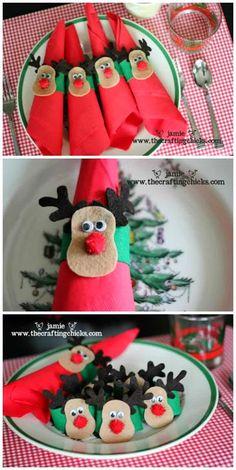 Porta guardanapos de natal de feltro rena