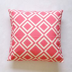 """Coral Pink Geometric Diamond Cushion Cover / Decorative Throw Pillow Cover  (18""""x 18"""") / (45cm x 45cm) on Etsy, $28.11 CAD"""