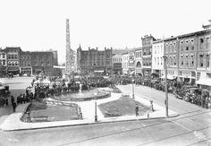 Filming of 'Conquest of Canaan', Pack Square, Asheville, NC, 1921 [ball1056]. View looking west.  E.M. Ball Collection, Ramsey Library Special Collections
