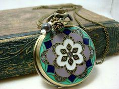 Vintage Inspired Pocket Watch Pendant Necklace