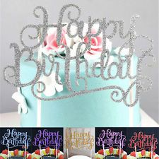Kids Happy Birthday Candle Party Glitter Script Cake Toppers Supplies Decoration