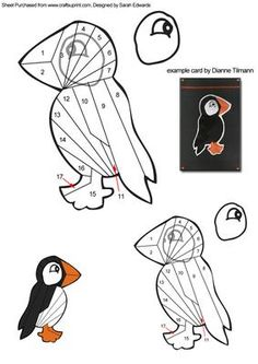 Puffin Bird Iris Folding Pattern