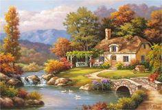garden path paintings images | ... garden, house, meadow, painting, river, road, stream, street, trees