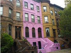 gotta love a pink brownstone!