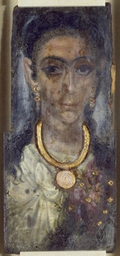 Mummy Portrait of a Woman from Fayum, Egypt. This portrait is on thick wood. The woman wears a necklace and earrings raised in plaster and gilded. There is cloth stuck to the sides and back. Between i (Roman Imperial). Ancient Rome, Ancient Art, Ancient History, Art History, Egyptian Mummies, Egyptian Art, Egypt Mummy, Post Mortem, Memento Mori