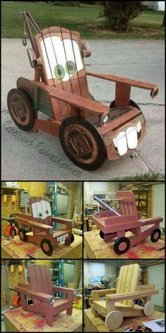 """How To Build A Tow Truck """"Mater"""" Chair http://theownerbuildernetwork.co/fztl If you don't recognize this character, you don't have kids! Why not involve them in making this DIY 'Mater' chair?"""