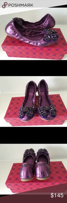 TORY BURCH AZALEA PURPLE LEATHER BALLET FLAT TORY BURCH AZALEA PURPLE LEATHER BALLET FLAT, SIZE 8.5, BRAND NEW WITH BOX AND DUST BAG Tory Burch Shoes Flats & Loafers