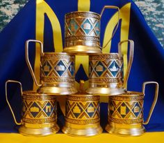 Vintage USSR Russian metal old tea Cup holder PODSTAKANNIK, 6 pcs