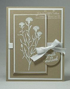 handmade retirement card ...  Wild About Flowers ... kraft with white mats, ink and ribbon ... luv the layout design ... Stampin' Up!