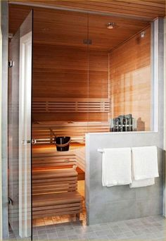 37 Awesome Home Sauna Design Ideas - Sofia Open Bathroom, Master Bathroom, Bathroom Ideas, Bathroom Trends, Basement Bathroom, Sauna Design, Outdoor Bathrooms, Home Reno, Creative Decor