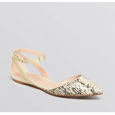 You CAN be stylish at work without killing your feet! // Enzo Angiolini Christaz Pointed Toe Ankle Strap Flats