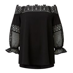 Polyester Off Shoulder Lace Top. Comfortable yet neat fitting style features an off shoulder lace neck trim, splice lace blouson sleeves with contrasting swing dipped body. Available in various colours as shown.