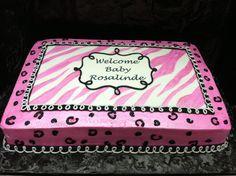 Baby shower. Pink & black zebra and cheetah print www.calicocakeshop.com
