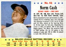1963 Post Cereal #46 Norm Cash | The Trading Card Database Norm Cash, Trading Card Database, Trivia, Cereal, Baseball, Baseball Promposals, Quizes, Breakfast Cereal, Corn Flakes