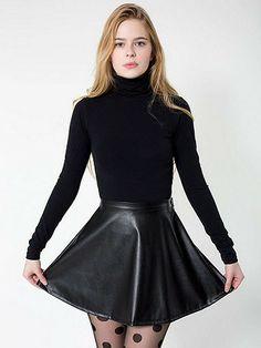 Vegan Leather Circle Skirt | American Apparel