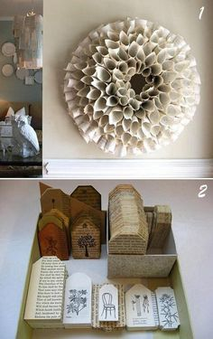 [riciclo] idee decorative con vecchi libri, per natale e non solo - Paperblog
