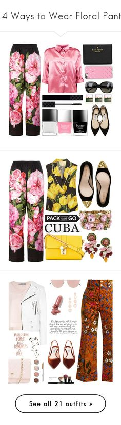 """14 Ways to Wear Floral Pants"" by polyvore-editorial ❤ liked on Polyvore featuring floralpants, Dolce&Gabbana, Boohoo, Kate Spade, Casetify, Bottega Veneta, Jimmy Choo, Polaroid, Butter London and Gucci"