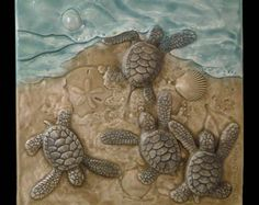 Art tile, Ceramic tile, There's one in every crowd, 6 inches, sculpted Baby Green sea turtles by MedicineBluffStudio on Etsy Ceramic Wall Art, Tile Art, Cerámica Ideas, Baby Sea Turtles, Turtle Love, Creation Deco, Clay Tiles, Decorative Tile, Clay Projects