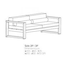 Menfis Sofa 3P, Gestell pulverbeschichtet von Sachi