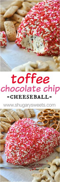 Chocolate Chip Toffee Dip for Valentine's Day. Easy to make and deliciously addicting!