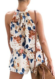 b1ed31c174f Floral Short Rompers Summer 2 Pieces Outfits Halter Crop Top Shorts Print Jumpsuits  Rompers Playsuits (