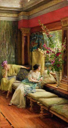 Lawrence Alma‐Tadema Cortejo vano, 1900  Óleo sobre lienzo. 76,6 x 41 cm © Colección Pérez Simón