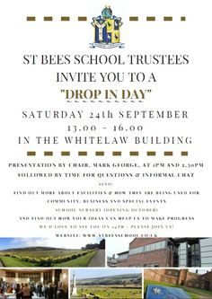 """St Bees School """"Drop In Day"""" http://www.cumbriacrack.com/wp-content/uploads/2016/09/st-bees-school-drop-in-day.jpg All who are interested in the current facilities and the future of St Bees School are invited to meet the Trustees of St Bees School on Saturday 24th September    http://www.cumbriacrack.com/2016/09/16/st-bees-school-drop-day/"""