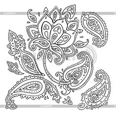 paisley Background | Paisley ornament. Lotus flower. Vector illustration isolated - © Ske4